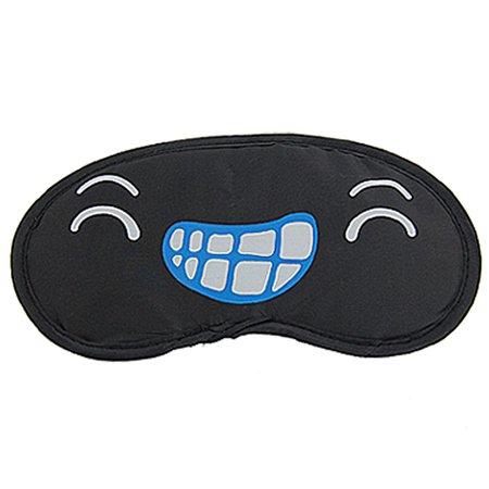 031d3fba2 Unique Bargains 2 Pcs Black Nylon Grins Eyes Print Stretch Band Sleeping  Eye Shade - image ...