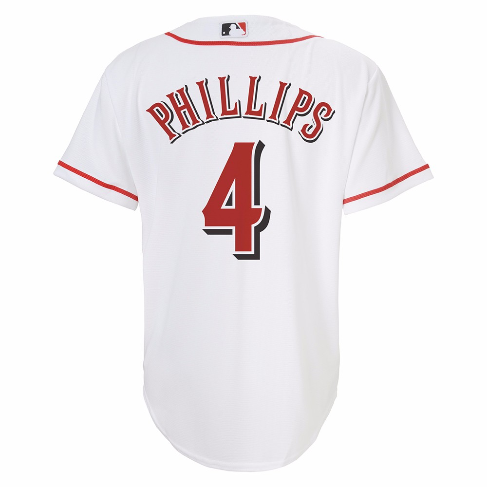 Brandon Phillips Cincinnati Reds MLB Majestic White Official Home Cool Base Replica Jersey For Youth by Majestic
