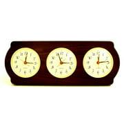 Bey-Berk International WS415 Brass Triple Quartz Clock in Ash Wood