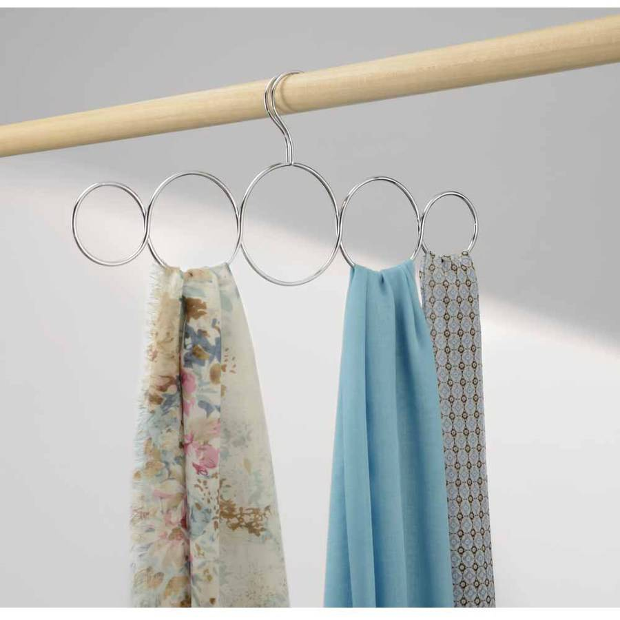InterDesign Classico Over-the-Rod 5-Loop Scarf Holder, Clear