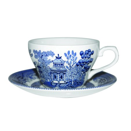 Churchill Blue Willow Fine China Earthenware Tea Cup Set, Made In England - Tea Cup Display
