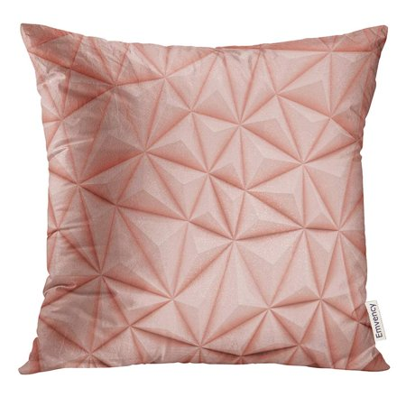 ARHOME Pink Bump Abstract Dusty Rose Low Poly with Copy Space 3D Render Diamond Pillow Case 18x18 Inches Pillowcase