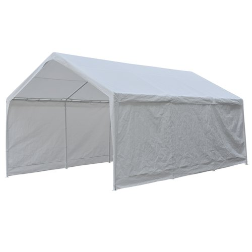 Abba Patio 12x 20-Feet Heavy Duty Domain Carport, Car Canopy Shelter with Steel Legs and Sidewalls, White by Abba Patio