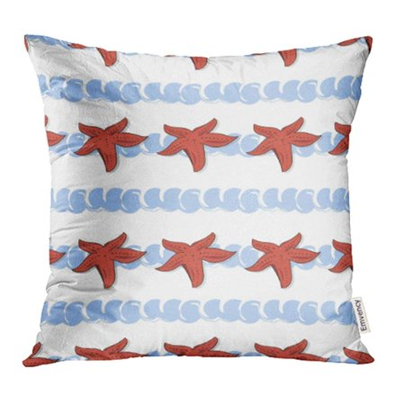 ARHOME Red Abstract Pattern Sea Life Starfishes on The Light Blue Waves White Beach Hand Pillowcase Cushion Cover 16x16 inch ()