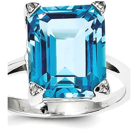 Band Blue Topaz Gemstone Ring (925 Sterling Silver Swiss Blue Topaz Diamond Band Ring Size 8.00 Stone Gemstone Fine Jewelry Ideal Gifts For Women Gift Set From Heart)