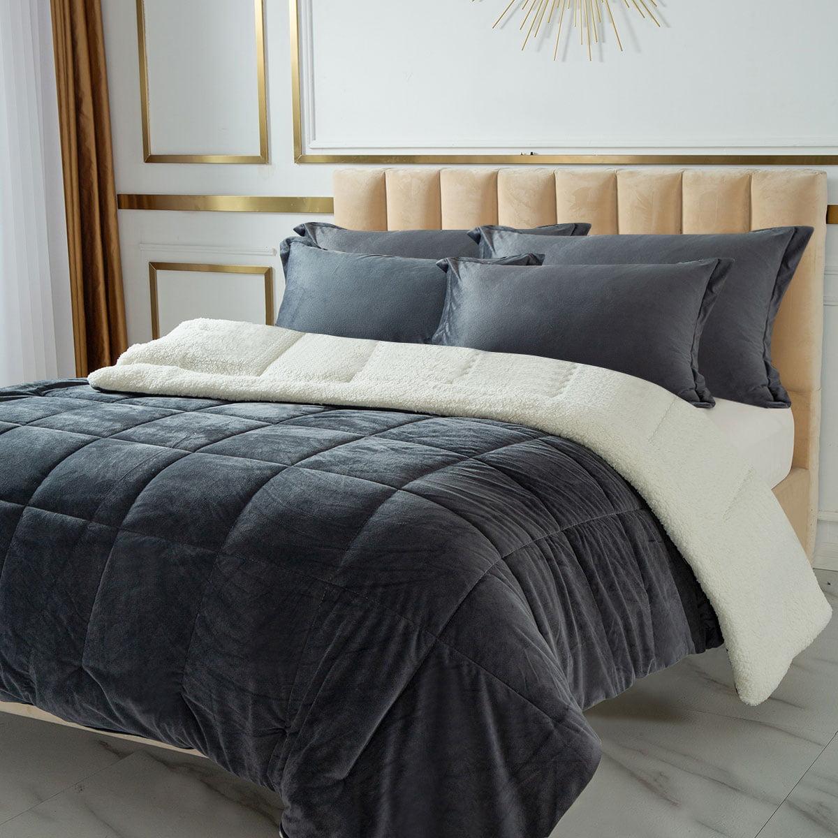 Light Weight Warm Cozy Fluf Chezmoi Collection 3-Piece Velvet Sherpa Quilt Set