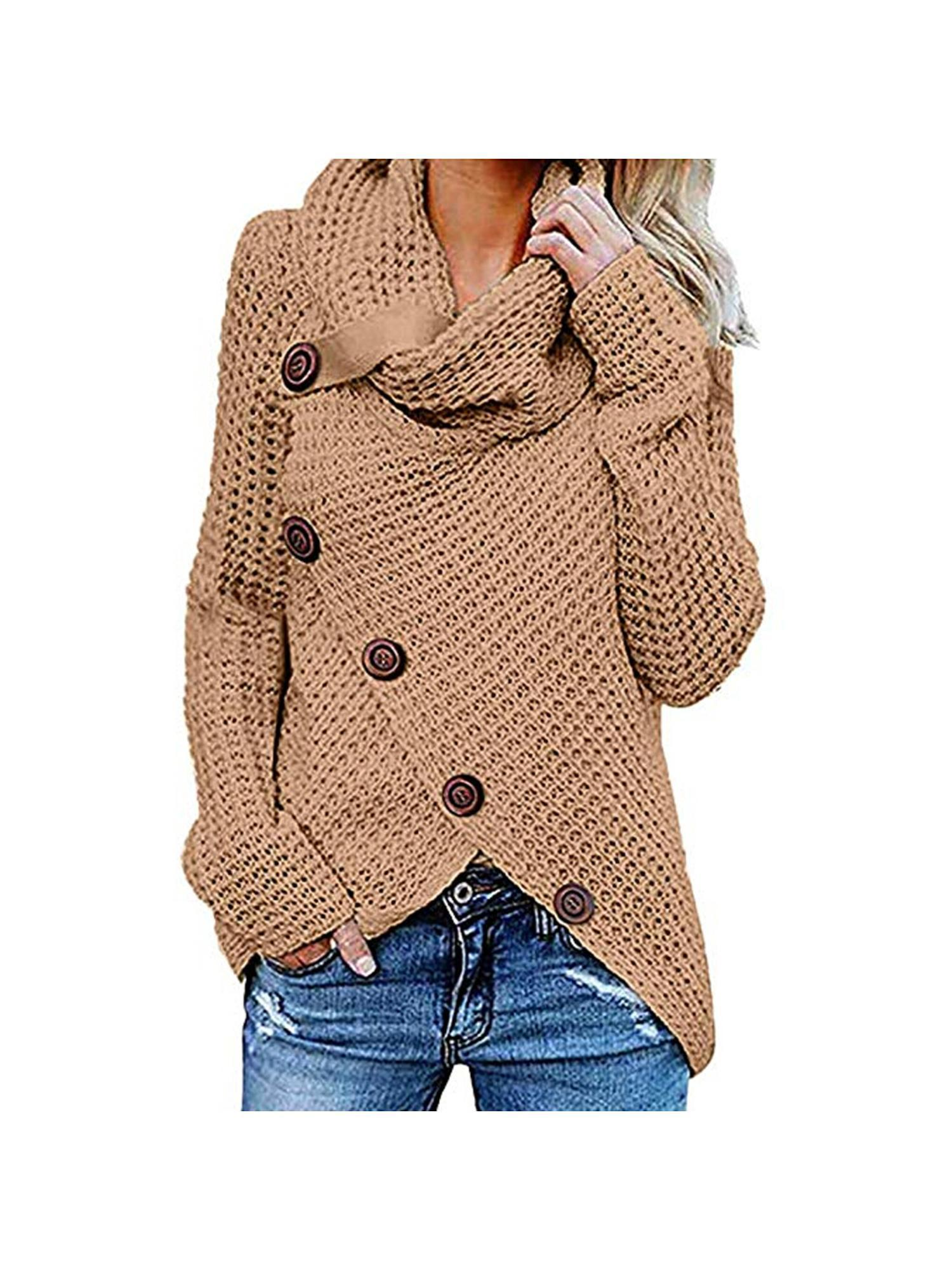 Women Fashion Casual Long Sleeve Loose Asymmetrical Turtleneck Cardigan IS