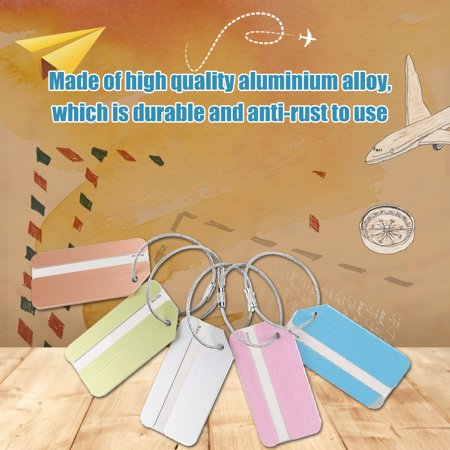 Sonew 5Pcs Aluminum Alloy Metal Baggage Luggage Suitcase Tag Address ID Identity Card for Travel,Baggage Card