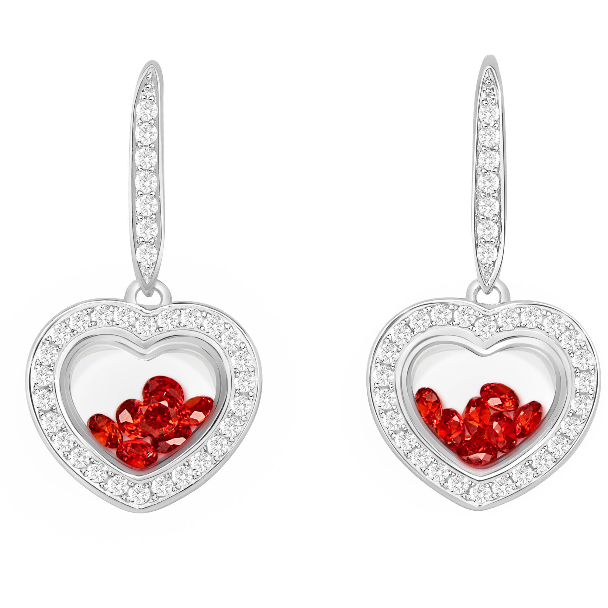 Chetan Collection Floating Red CZ Sterling Silver Designer Heart-Shape Earrings