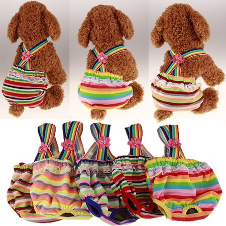 Cute Sweet Pet Dog Physiological Pant Female Puppy Cotton Suspender Sanitary Diaper Underwear Color:Orange Green Red Stripes Size:M - image 1 of 8