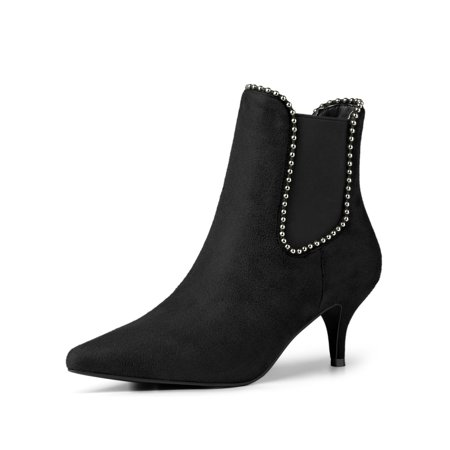 Unique Bargains - Women s Pointed Toe Beaded Kitten Heel Ankle Boots Black  (Size 6) - Walmart.com d1915eab6