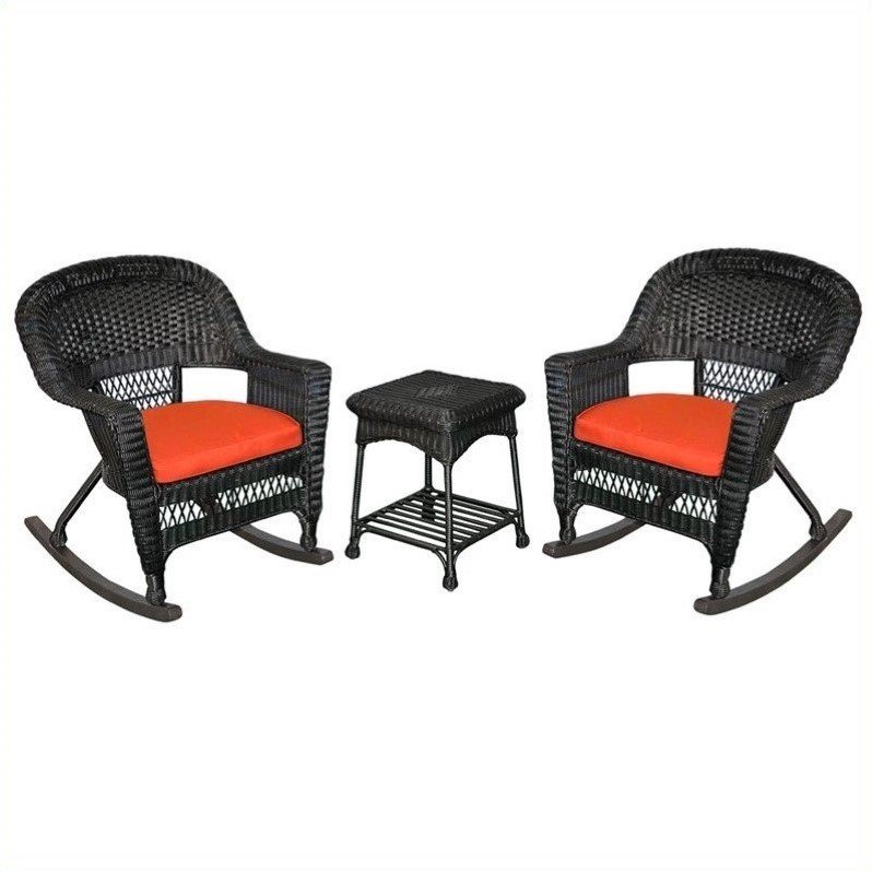 Jeco 3pc Wicker Rocker Chair Set in Black with Red Cushion by Jeco Inc.