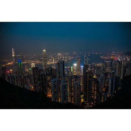 Framed Art for Your Wall Night Hong Kong Victoria Peak 10x13