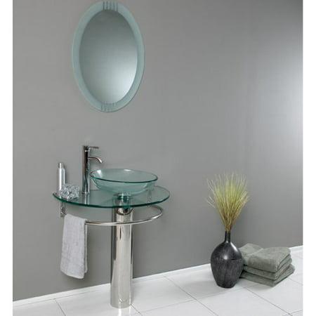 Fresca Attrazione 29.5-in. Modern Glass Single Bathroom Vanity & Frosted Edge Mirror FVN1060