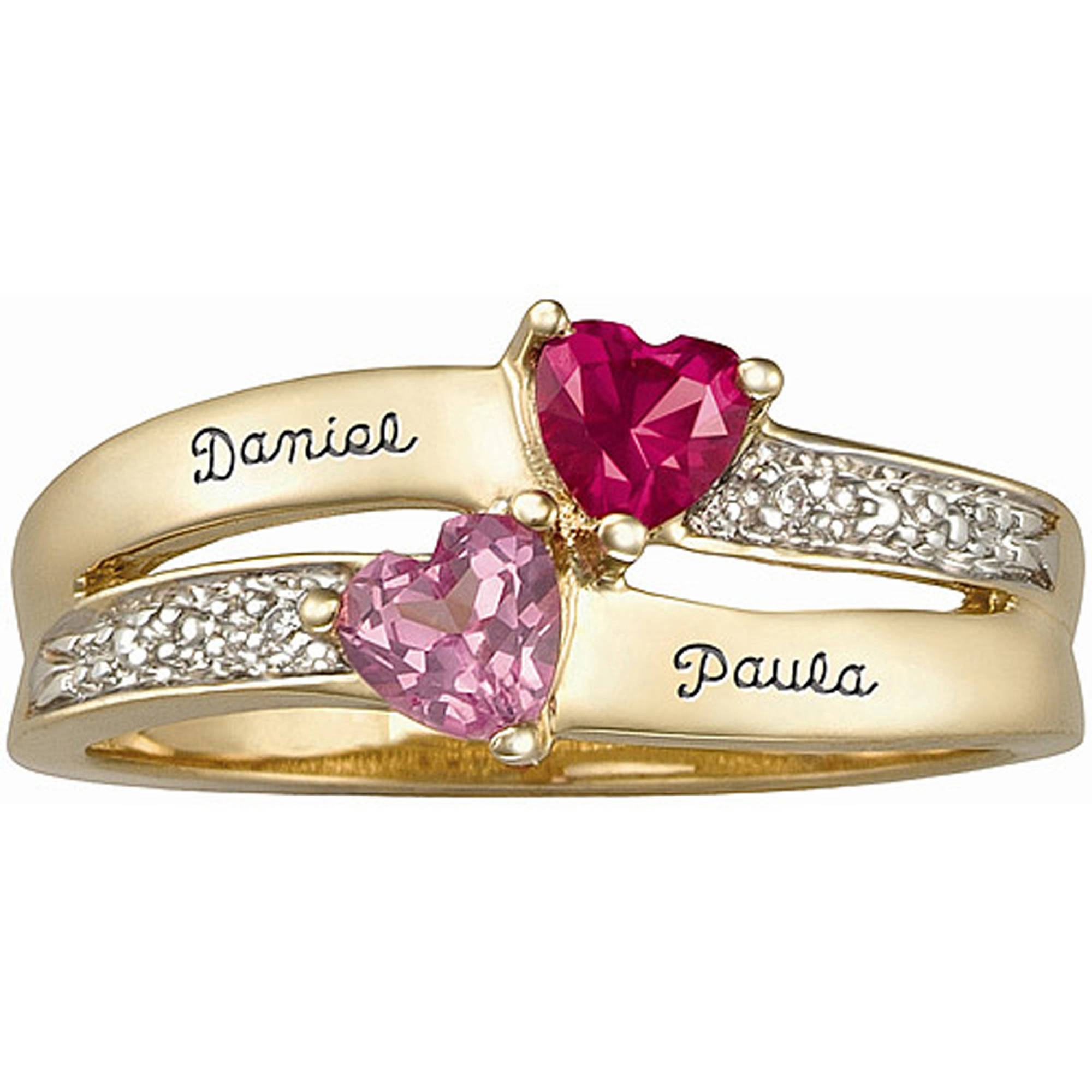 Keepsake Personalized Enamored Couple's Ring with Birthstones