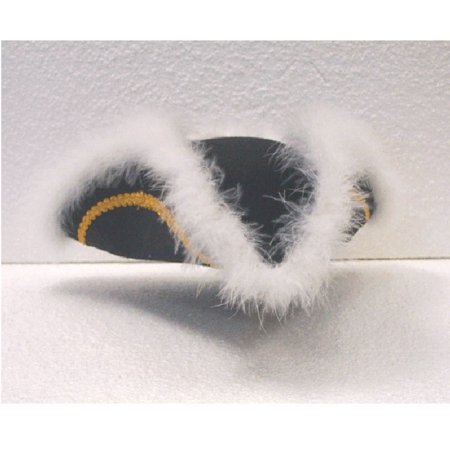 Colonial Tricorn Hat (Felt Tricorn Hat with Feather Black White Tricorner Costume Colonial)