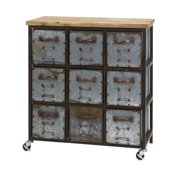 """Imax Home 89111 Holloway 30"""" Wide Nine Drawer Iron Utility Cabinet - Grey"""
