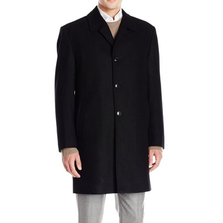 London Fog Deep Onyx Mens Button-Front Coat Wool