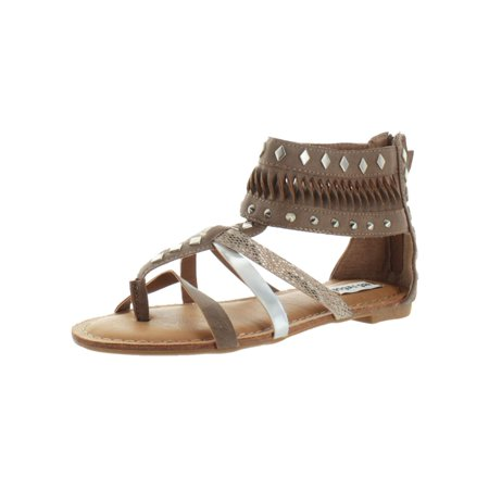 Leather Woven Sandals - Not Rated Womens Lemon Twist Faux Leather Cut Out Gladiator Sandals