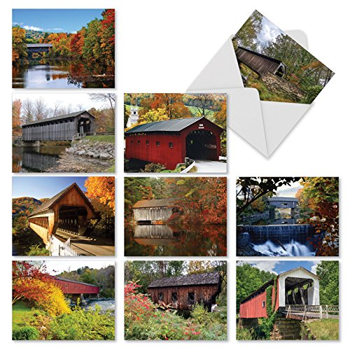 'M2374OCB COVERED BRIDGES' 10 Assorted All Occasions Note Cards Featuring Rustic Covered Bridges in Gorgeous Autumnal Landscapes with Envelopes by The Best Card Company