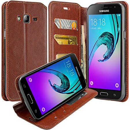 Samsung Galaxy S3 Case - Wydan Wallet Case Folio Flip Leather Kickstand Feature Credit Card Slot Style Cover Brown (Galaxy S3 Cases Wallet)