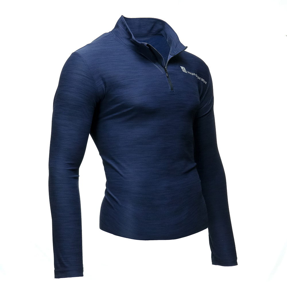 Fusion VS Wear Men's Microfiber 1/4 Zip Slim Fit Compression Long Sleeve Athletic Sport Performance Training Thermal Baselayer Tactical Turtleneck Shirt Made in USA Large Blue