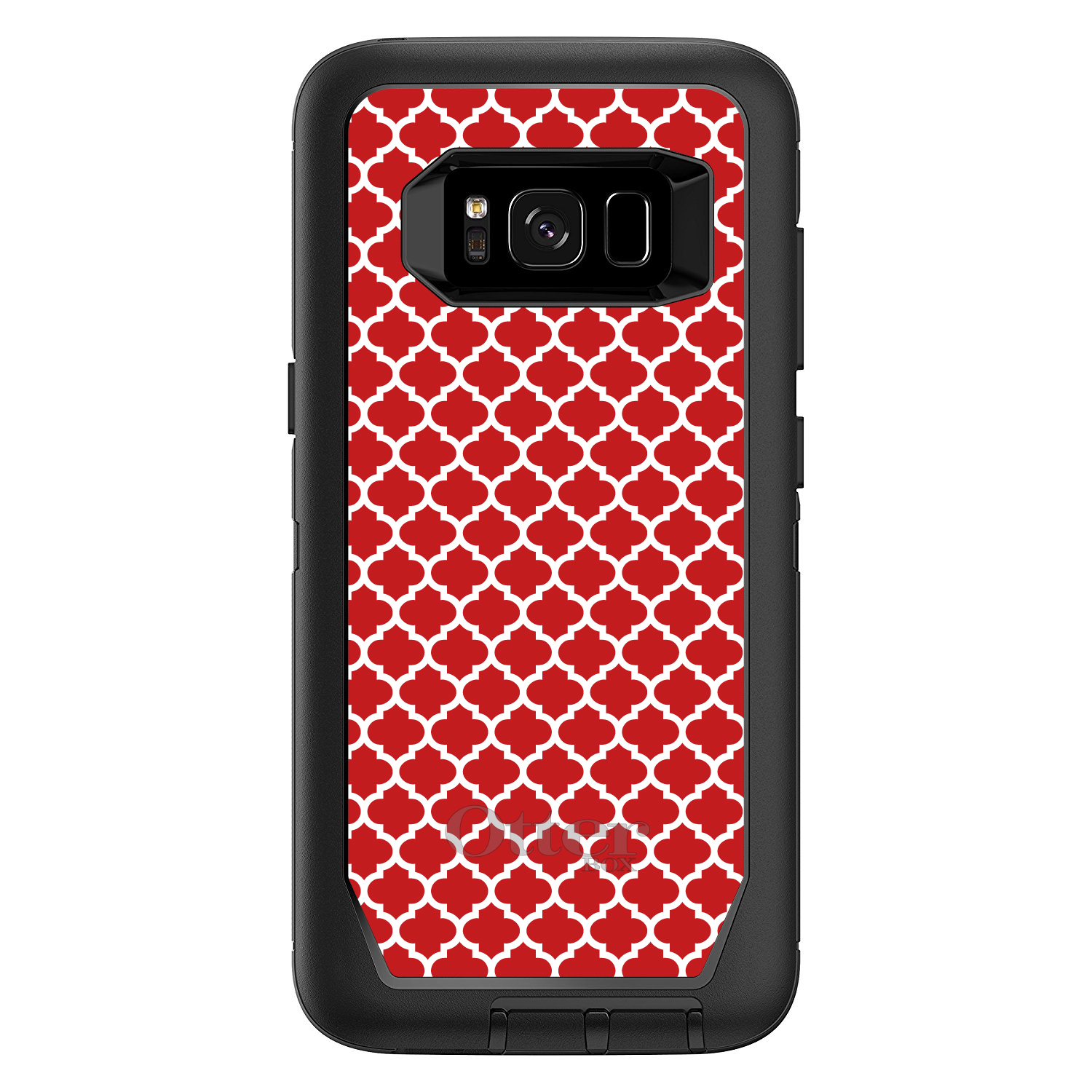 "DistinctInk™ Custom Black OtterBox Defender Series Case for Samsung Galaxy S8 (5.8"" Screen) - Red White Moroccan Lattice"
