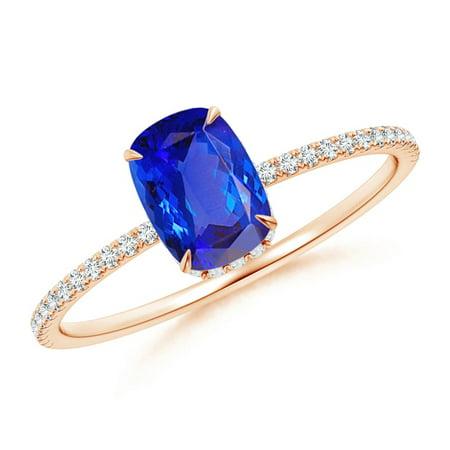December Birthstone Ring - Thin Shank Cushion Cut Tanzanite Ring With Diamond Accents in 14K Rose Gold (7x5mm Tanzanite) - SR1068TD-RG-AAA-7x5-6 ()