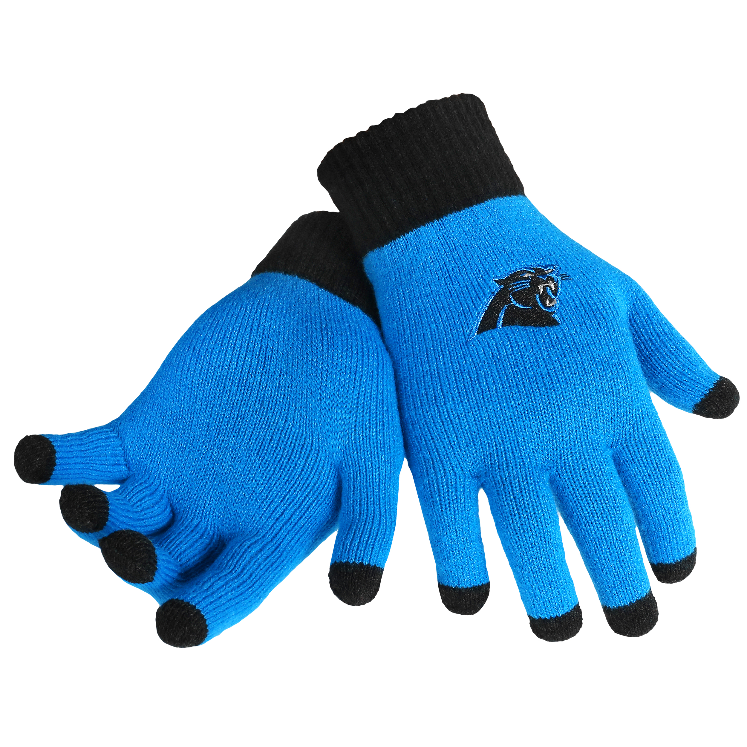 Carolina Panthers Official NFL Glove Solid Outdoor Winter Stretch Knit by Forever Collectibles 240082