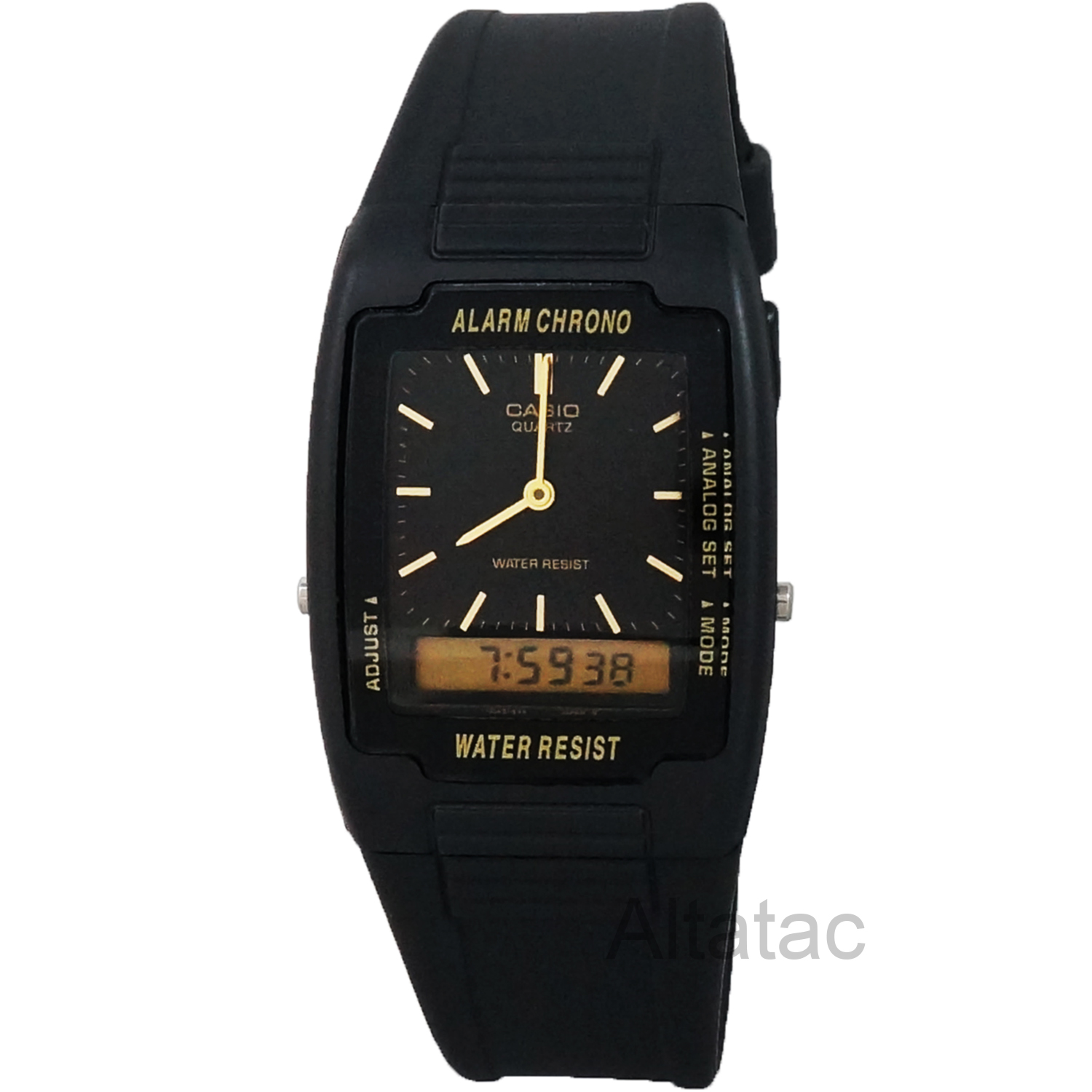 AQ47-1E Mens Casual Classic Analog & Digital Water Resistant Watch - Black