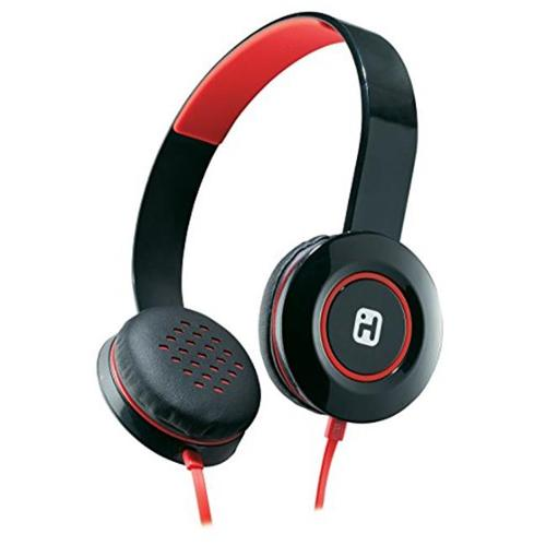 iHome IB35BRC Stereo Headphones with Flat Cable, Black & Red