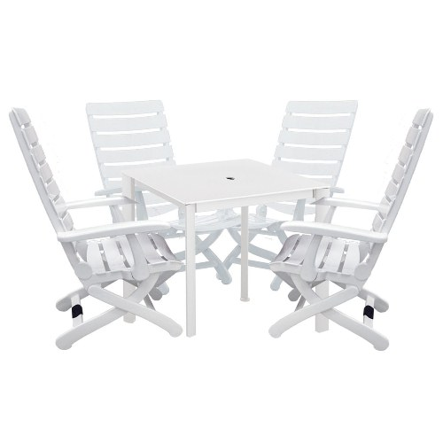 Kettler Tiffany 5-Piece Patio Furniture Set. Includes 4-Piece, 16-Position Chairs and a 37-Inch Square Kettalux-Plus Loft Table.