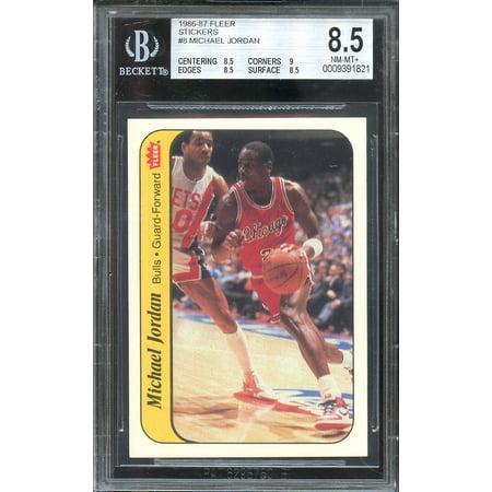1986 87 Fleer Stickers 8 Michael Jordan Rookie Card Bgs 85 85 9 85 85