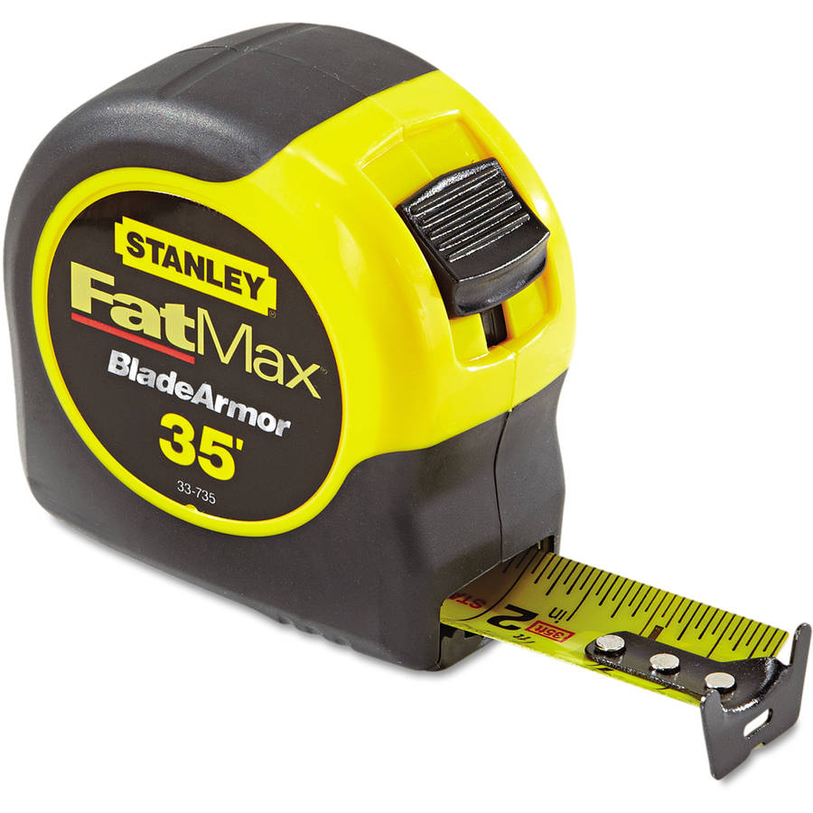"Stanley Tools Fat Max Tape Rule, 1 1/4"" x 35', Plastic Case, Black/Yellow, 1/16"" Graduation"