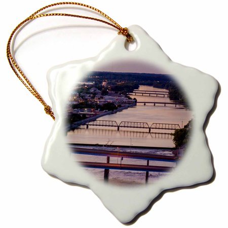 Foot Span Bridge - 3dRose Many bridges span the Grand River, Grand Rapids, Michigan, USA, Snowflake Ornament, Porcelain, 3-inch