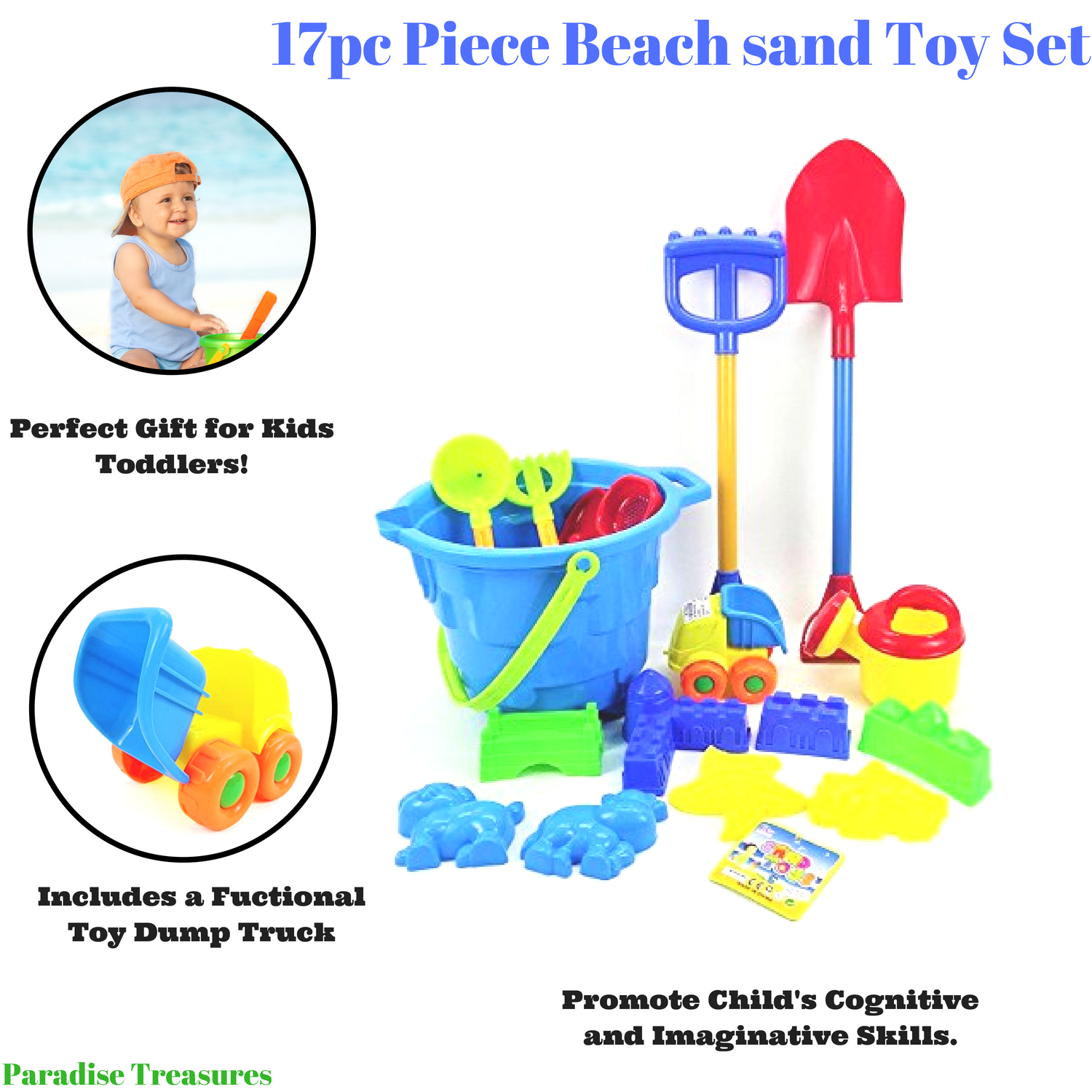 Click here to buy 17pc Piece Beach sand Toy Set,Toy Dump Truck, Bucket, Shovels, Rakes, Sand Wheel, Watering Can, Molds by Paradise Treasures.