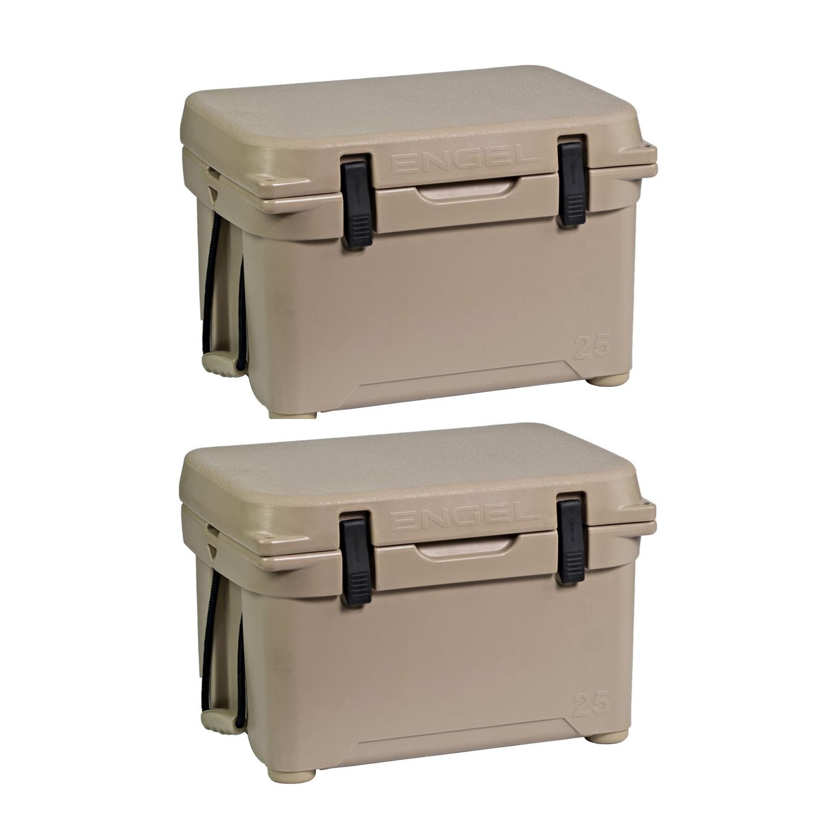 Engel 25 High Performance 5.28 Gallon Roto Molded Ice Chest Cooler, Tan (2 Pack)