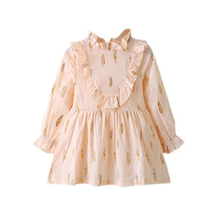 stylesilove Feather Print Little Girls Ruffle Neck Long Sleeve Cotton Blouse (110/3-4 Years, Pink)