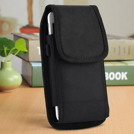 iPhone 6 Plus / iPhone 6s Plus / iPhone 7 Plus / iPhone 8 Plus 5.5 inch , EpicDealz Extra Large Ultra Rugged Pouch Case Holster Black Nylon Canvas Flap with Steel Metal Belt Clip + Carabiner Hook