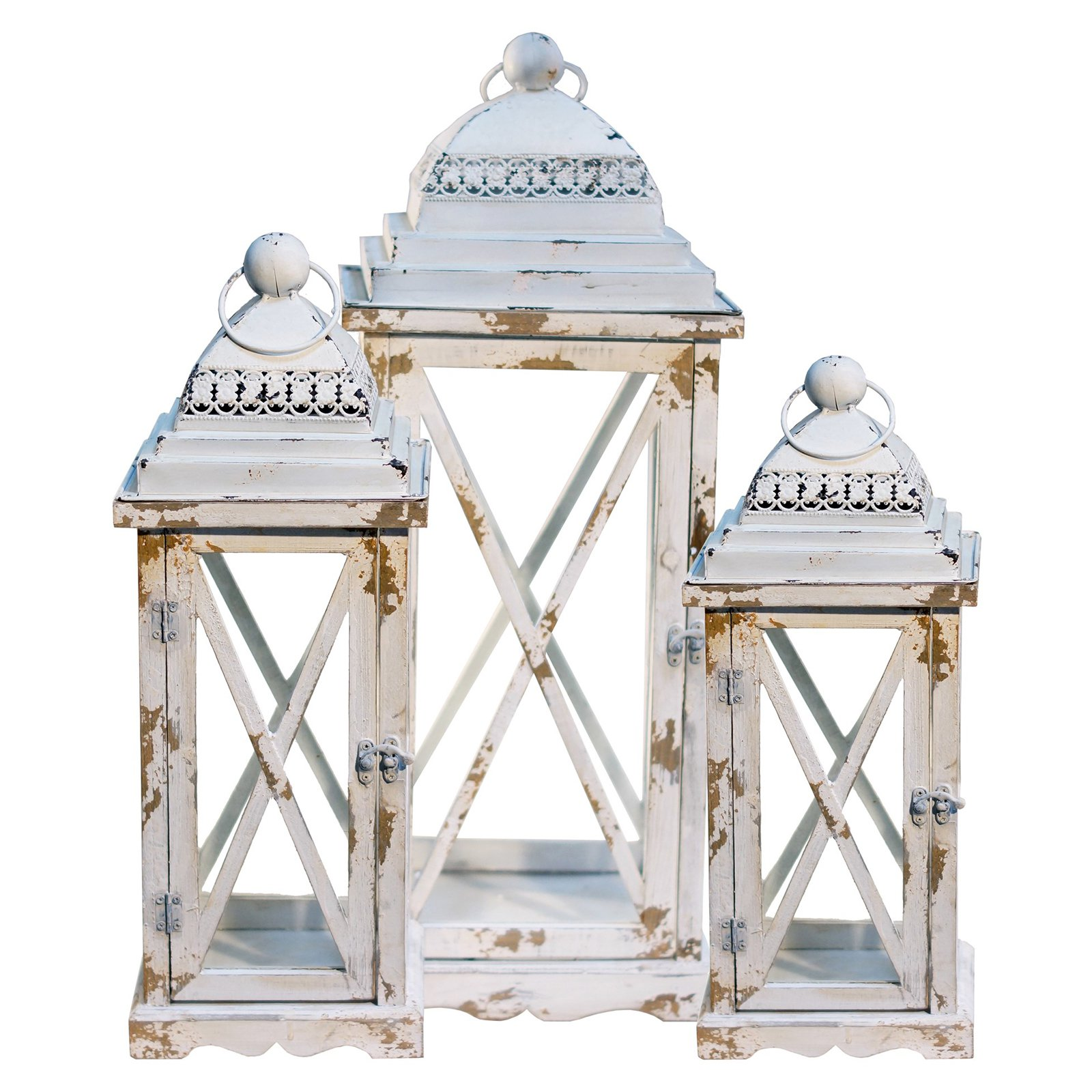 American Mercantile 3 Piece Weathered Metal Lantern Set