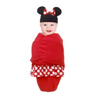 Disney Minnie Mouse 100% Cotton Knit Fitted Swaddle Baby Blanket with Minnie Ears & Bow Beanie, Red, Black & White 0-4 Mo. 7-14 Lbs.