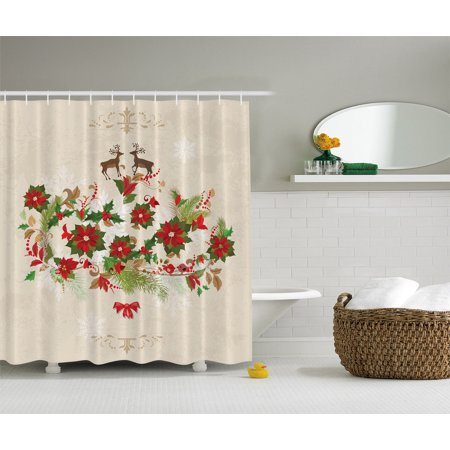Deer Decor Flowers Poinsettia Deers Christmas Decor Fabric Bath Shower Curtain