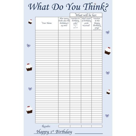 Boy-1st Birthday Guessing Game Board & Keepsake, 50 Players for $<!---->
