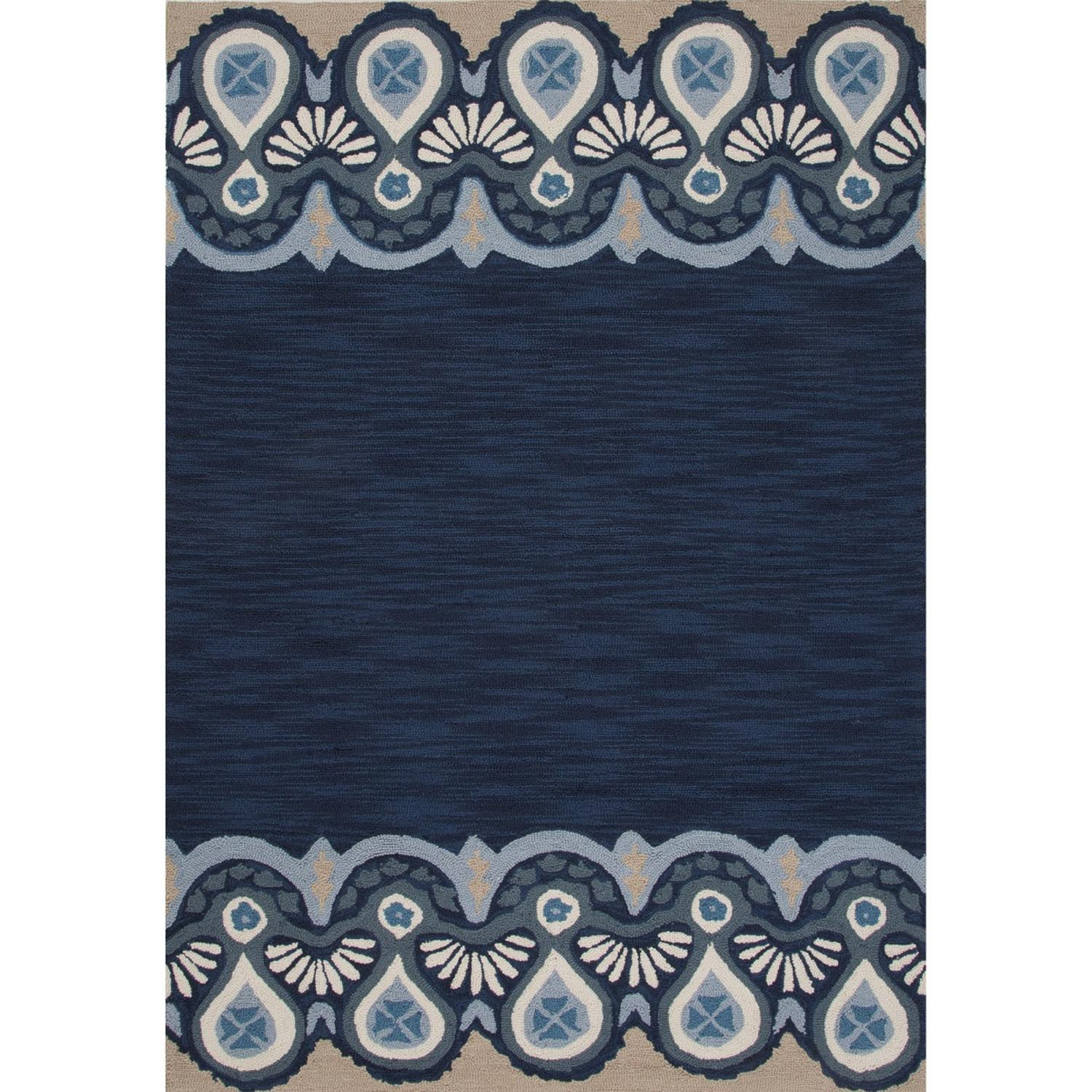 2' x 3' Navy Blue, Ivory and Tan Essential Transitional Hand Tufted Area Throw Rug