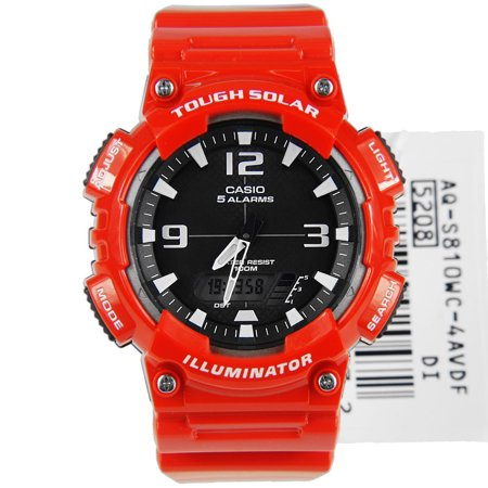 Solar Wave Watch (Men's Solar Sport Combination Watch, Red Glossy Resin Strap)