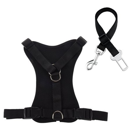 Roadwi No Pull Padded Dog Harness, Adjustable Mesh Pet Vest Harness with Vehicle Car Seat Belt Leash Set for Dogs & Cats
