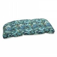Pretty Paisley Navy Wicker Loveseat Cushion