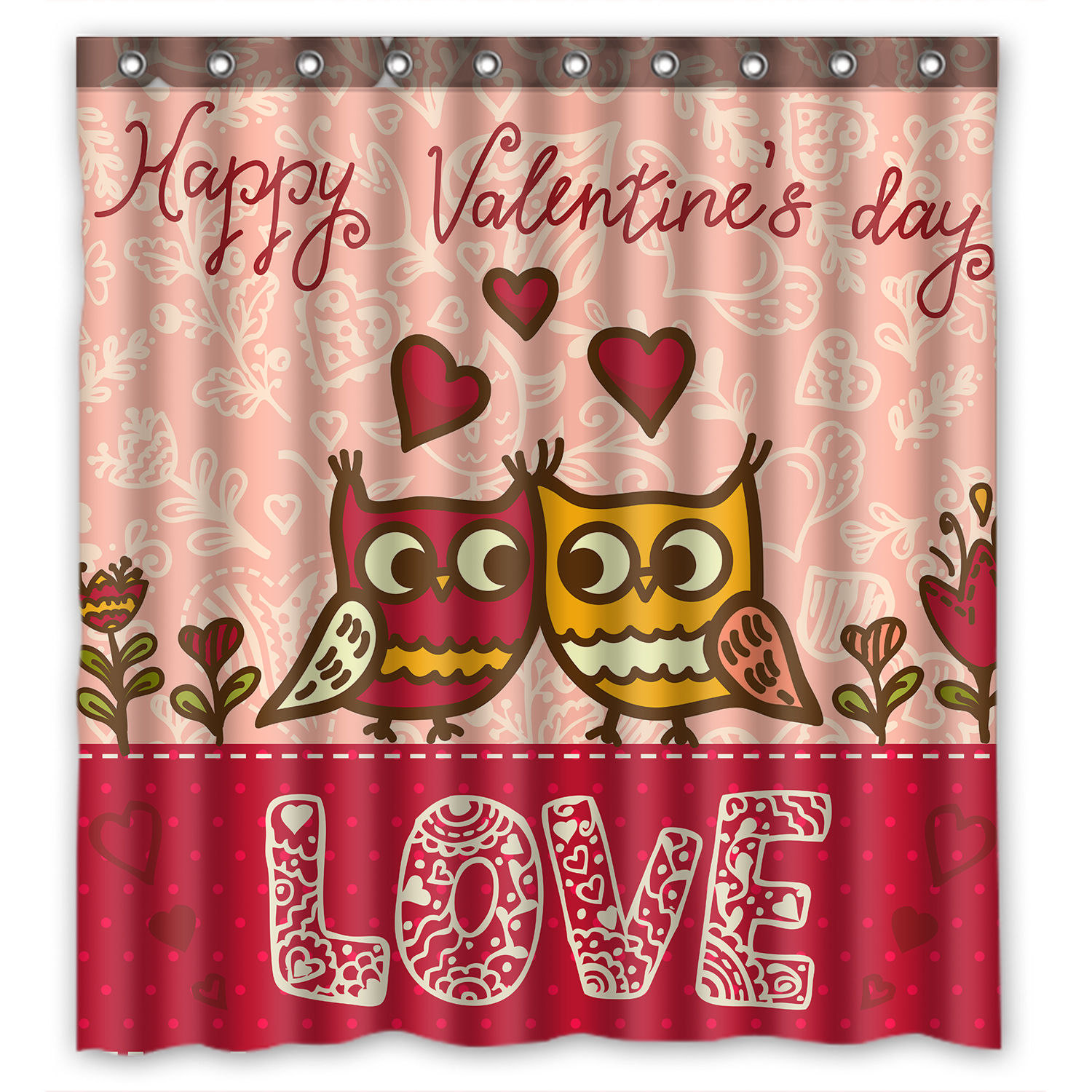 YKCG Funny Owl Love Pink Valentines Day Shower Curtain Waterproof Fabric Bathroom 60x72 Inches