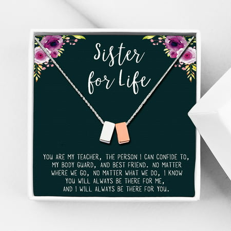 Anavia Sister Necklace, Sister Jewelry Gift, Gift for Sister, Sister Birthday Gift, Anniversary's Day Gift for Her, Double Cubes Pendant Necklace with Wish Card -[1 Silver & 1 Rose Gold]