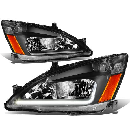 For 03 07 Honda Accord Led Drl Light Bar Headlight Black Housing